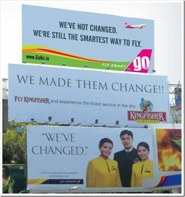 Airline company billboards, c.2007.